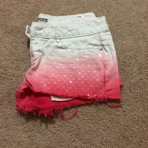 White to pink ombré PINK sequined shorts
